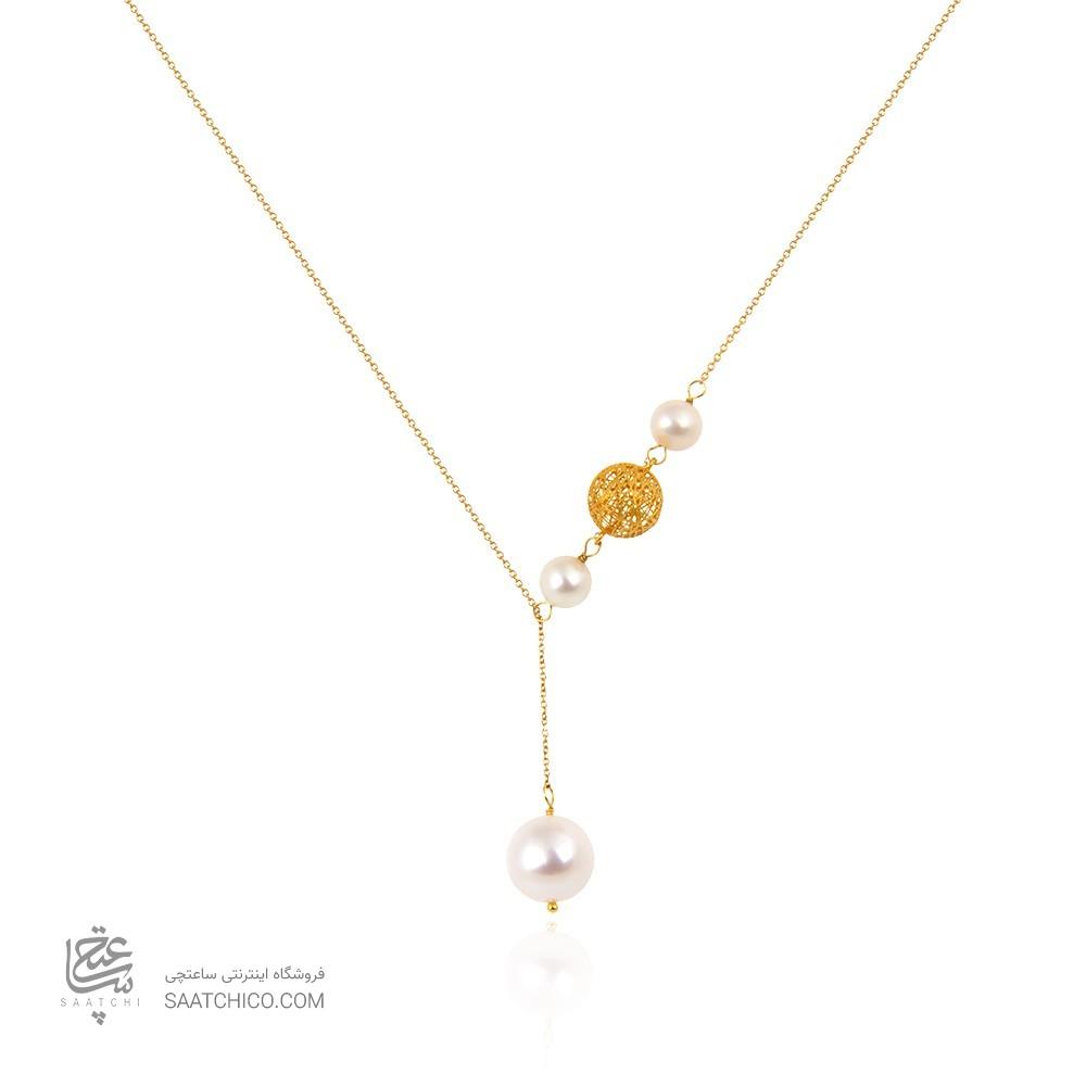 گردنبند طلا زنانه طرح فیوژن با مروارید کد xn143