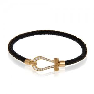دستبند چرم و طلا زنانه طرح فرد با نگین کد xb986
