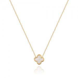 گردنبند طلا کودک طرح گل چهار پر ونکلیف کد kn703