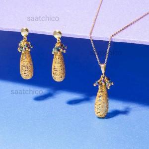 نیم ست طلا طرح اشک فیوژن با سنگ کد xs223