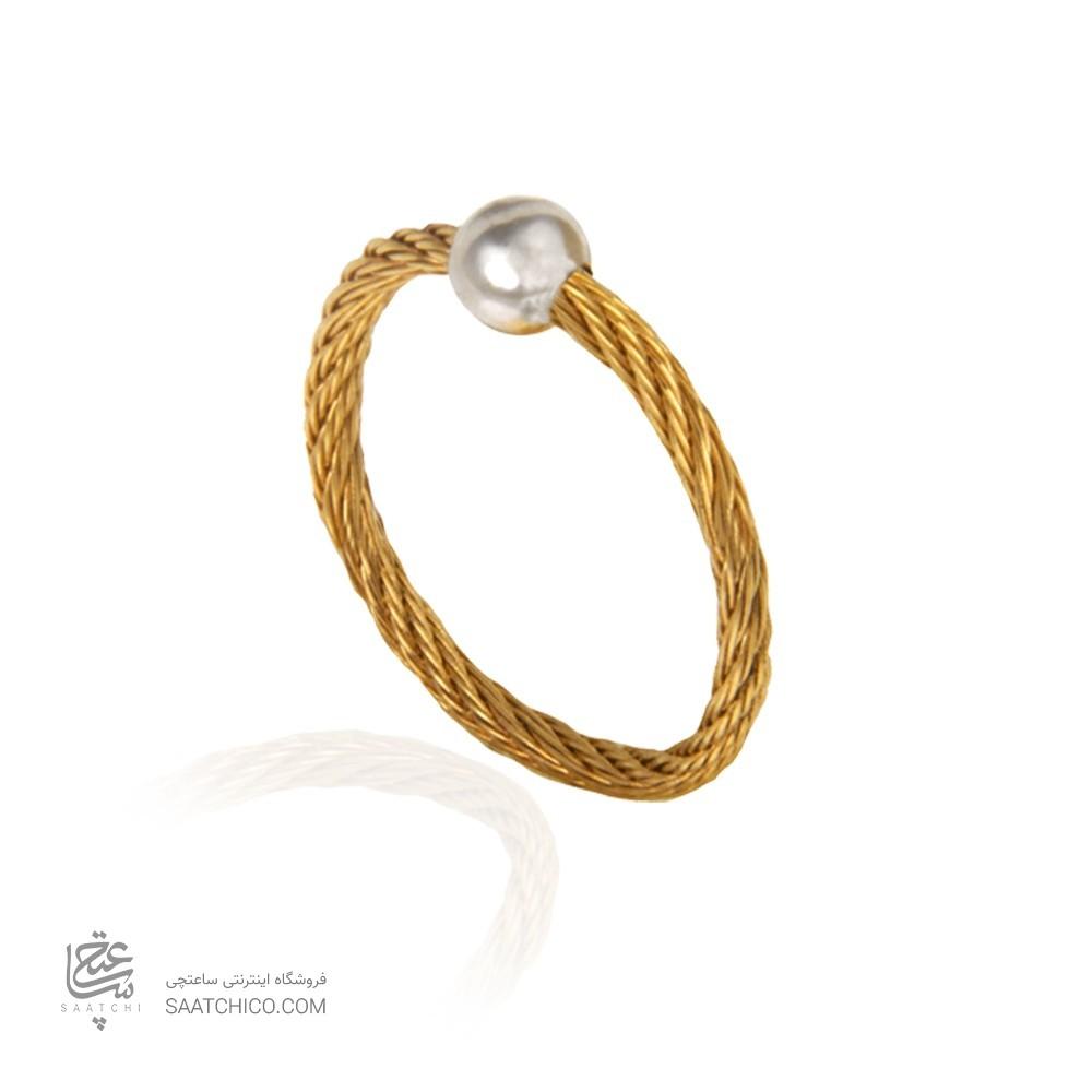 انگشتر طلا زنانه طرح فرد با گوی کد cr438