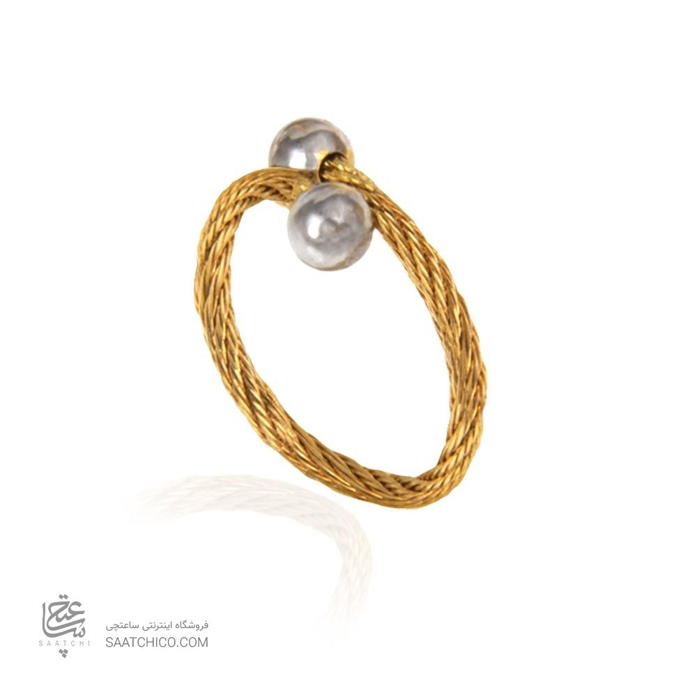انگشتر طلا زنانه طرح فرد دو طرفه کد cr439