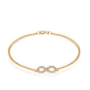 دستبند طلا زنانه طرح بی نهایت با نگین کد cb354