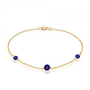 دستبند طلا زنانه طرح چشم نظر کد cb357