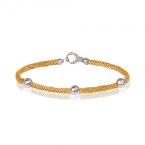 دستبند طلا زنانه طرح فرد با گوی کد cb362a