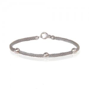 دستبند طلا زنانه طرح فرد با گوی کد cb362b