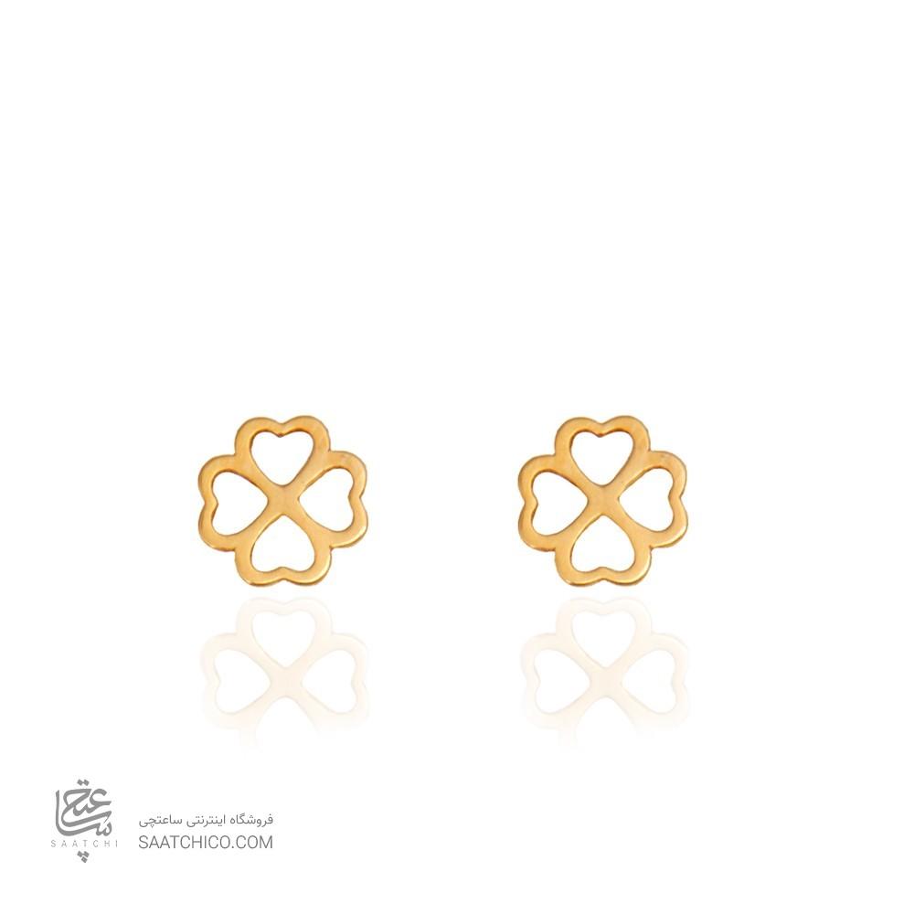 گوشواره طلا زنانه طرح گل چهار پر کد le616