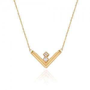 گردنبند طلا زنانه طرح هندسی با نگین کد cn386