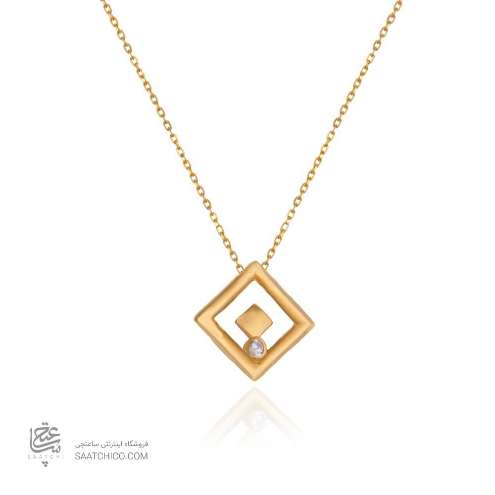 گردنبند طلا زنانه طرح هندسی با نگین کد cn385