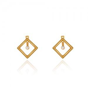 گوشواره طلا زنانه طرح هندسی با نگین کد ce346