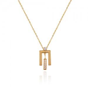 گردنبند طلا زنانه طرح هندسی با نگین کد cn384