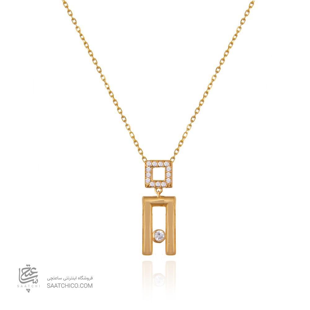 گردنبند طلا زنانه طرح هندسی با نگین کد cn383