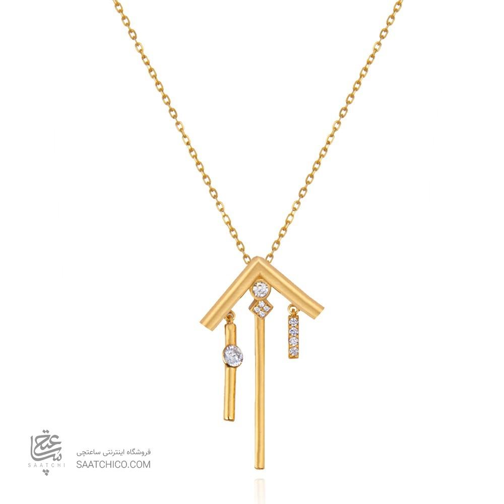 گردنبند طلا زنانه طرح هندسی با نگین کد cn382