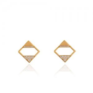 گوشواره طلا زنانه طرح هندسی با نگین کد ce347