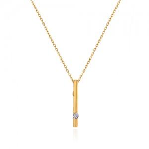 گردنبند طلا زنانه طرح هندسی با نگین کد cn381