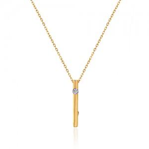 گردنبند طلا زنانه طرح هندسی با نگین کد cn380