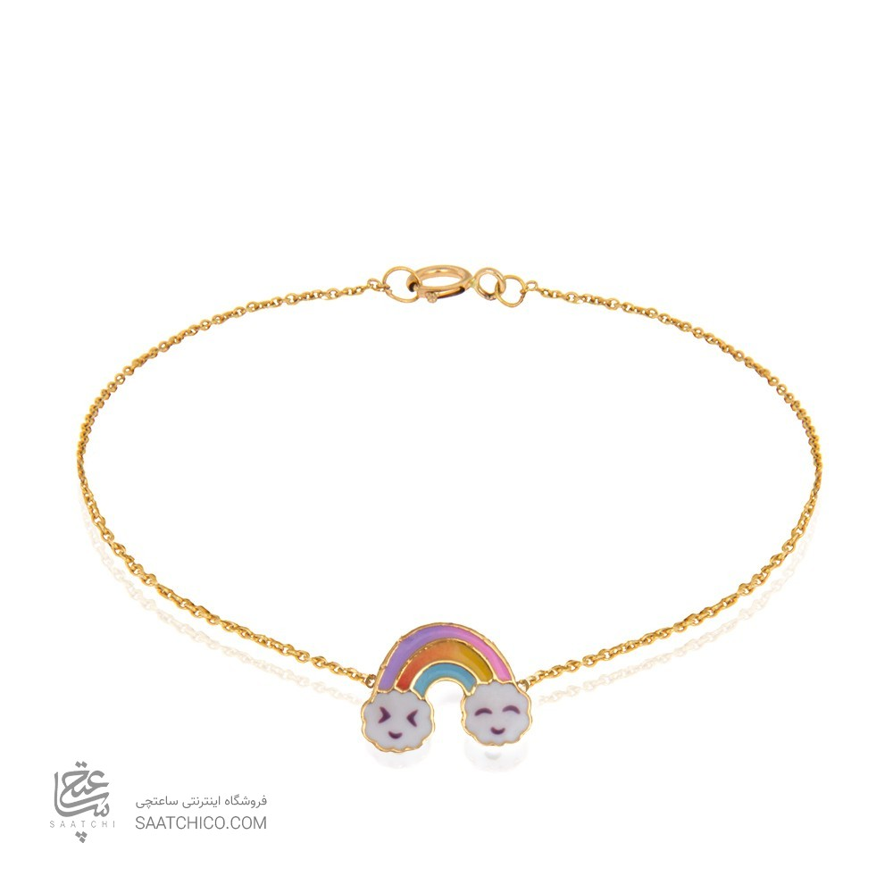 دستبند طلا کودک طرح رنگین کمان کد kb329