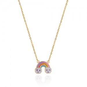 گردنبند طلا کودک طرح رنگین کمان کد kn706