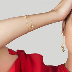 دستبند طلا زنانه طرح مکعب با کریستال کد CB365