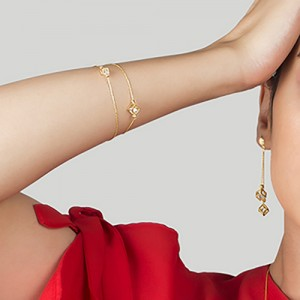 دستبند طلا زنانه طرح مکعب با کریستال کد cb366
