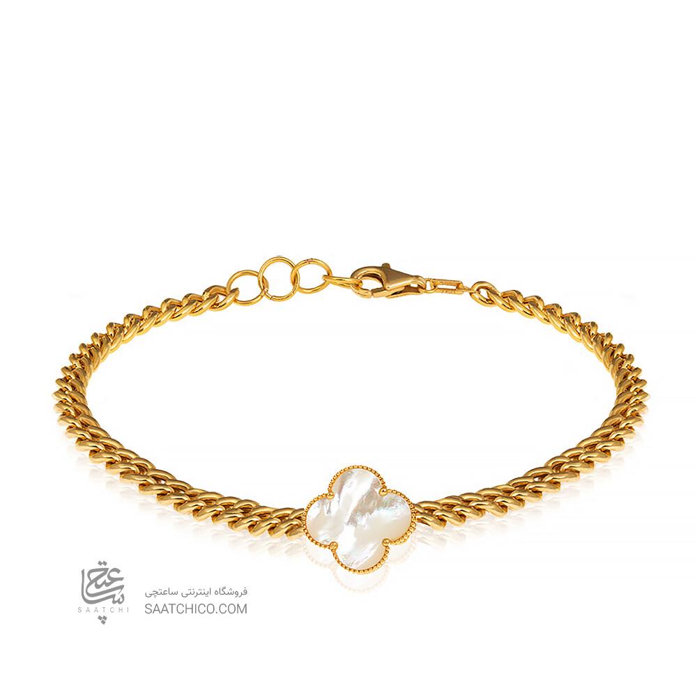 دستبند طلا زنانه طرح کارتیه با گل ونکلیف کد CB368