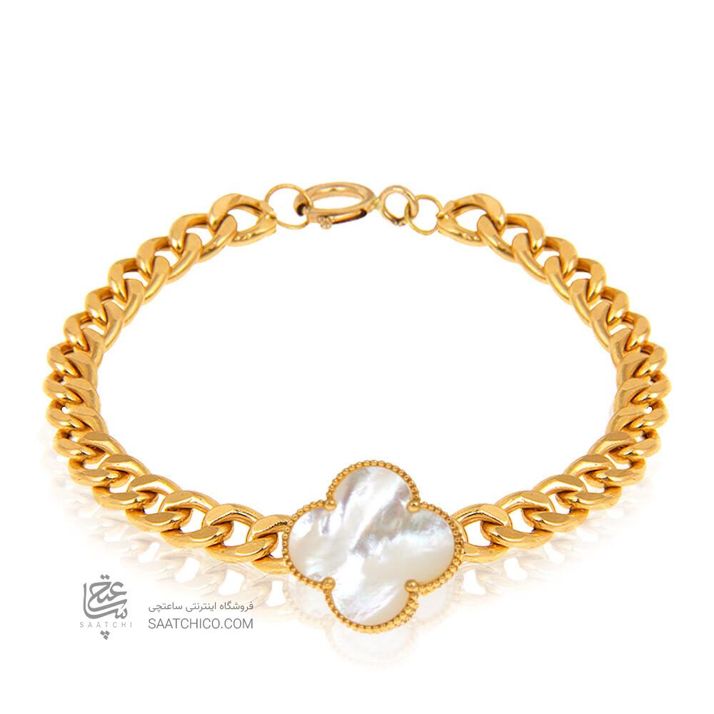 دستبند طلا طرح زنجیر کارتیه با گل ونکلیف کد CB369