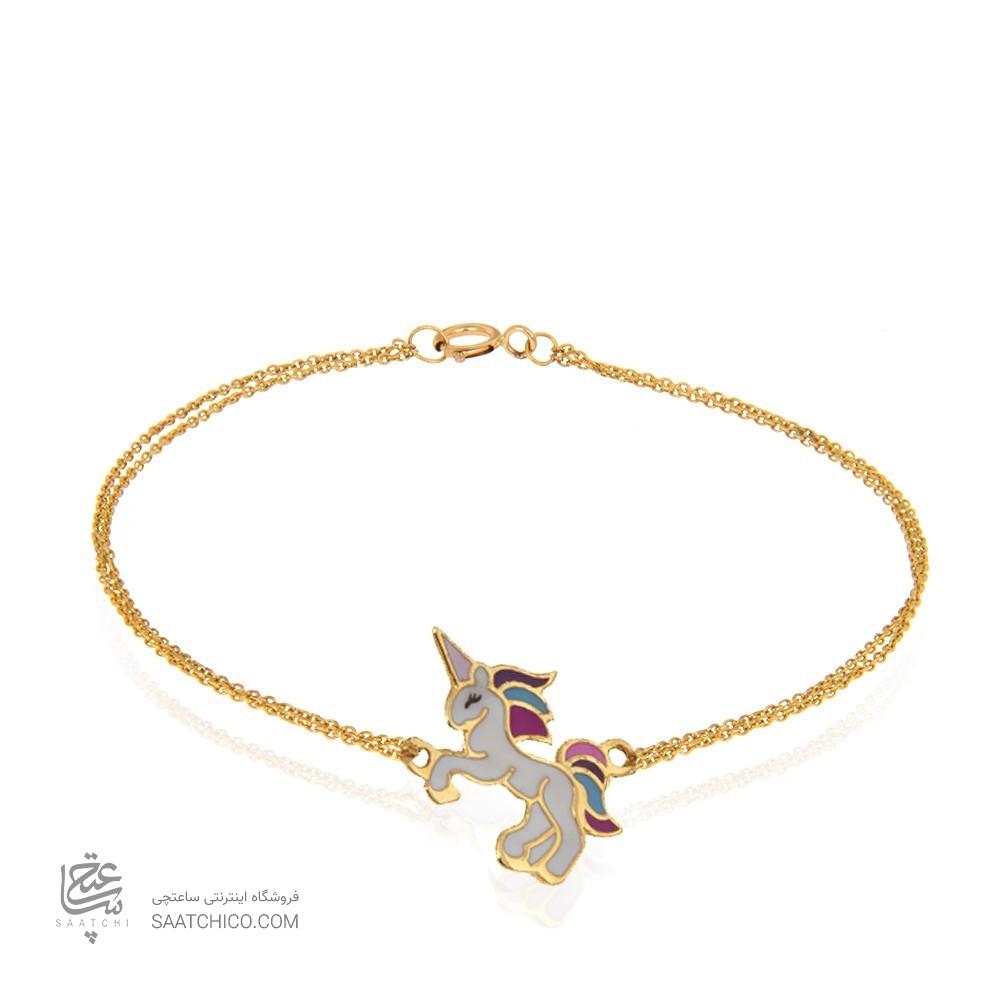 دستبند طلا کودک طرح یونیکورن کد kb331