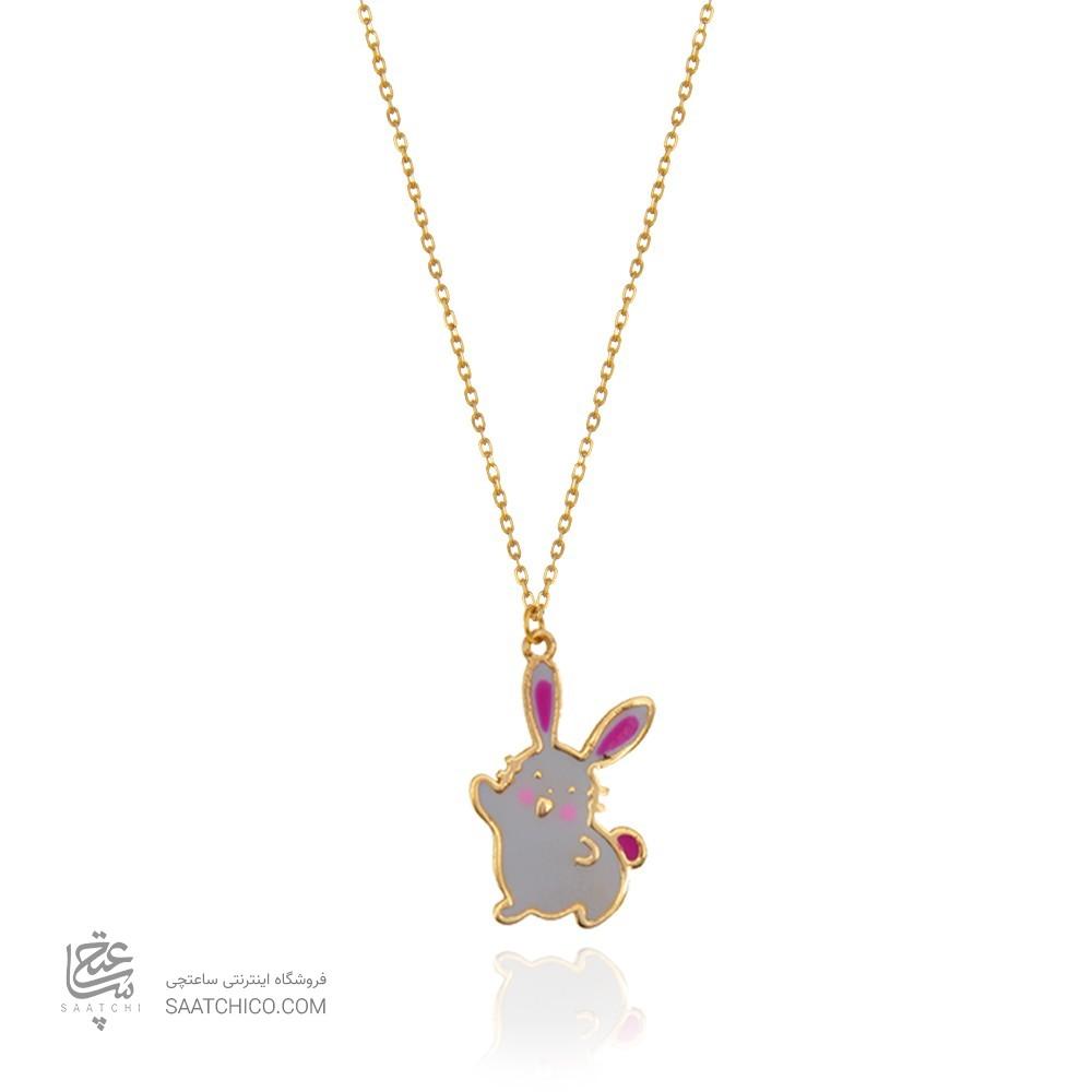 گردنبند طلا کودک طرح خرگوش کد kn707