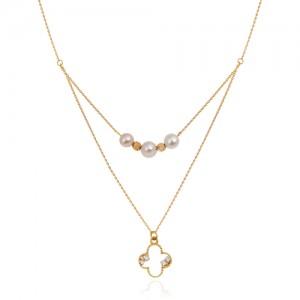 گردنبند طلا با مروارید و آویز ونکلیف نگین دار کد xn144
