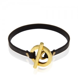 دستبند چرم و طلا مردانه کد mb117