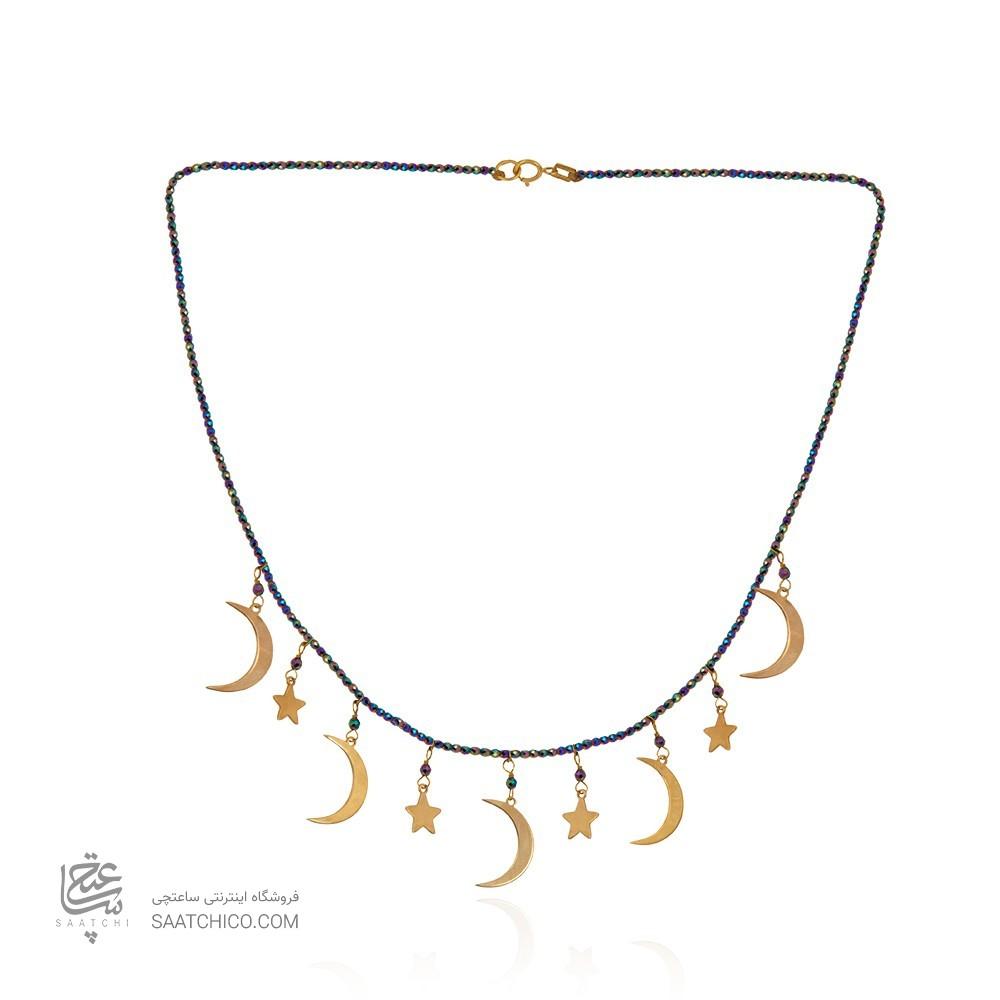 گردنبند طلا زنانه طرح ماه و ستاره کد xn325