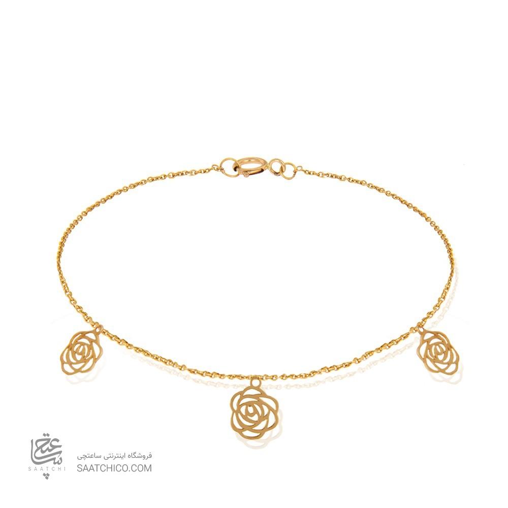 پابند طلا زنانه طرح گل شنل کد la704