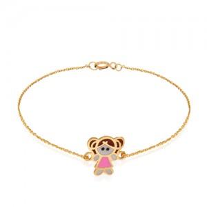 دستبند طلا کودک طرح دختر کد kb309