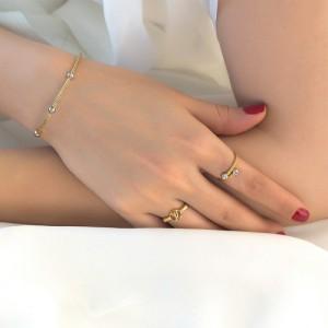 انگشتر طلا زنانه فرد طرح louis vuitton کد cr448
