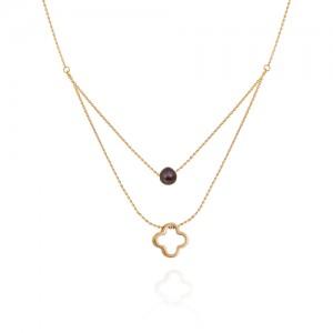 گردنبند طلا زنانه دولایه طرح ونکلیف با مروارید کد xn327