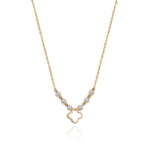 گردنبند طلا زنانه طرح ونکلیف با مروارید کد xn149