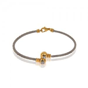 دستبند طلا زنانه طرح فرد با نگین کد cb370