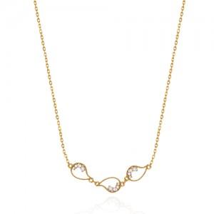 گردنبند طلا زنانه طرح بته جقه با نگین کد cn391