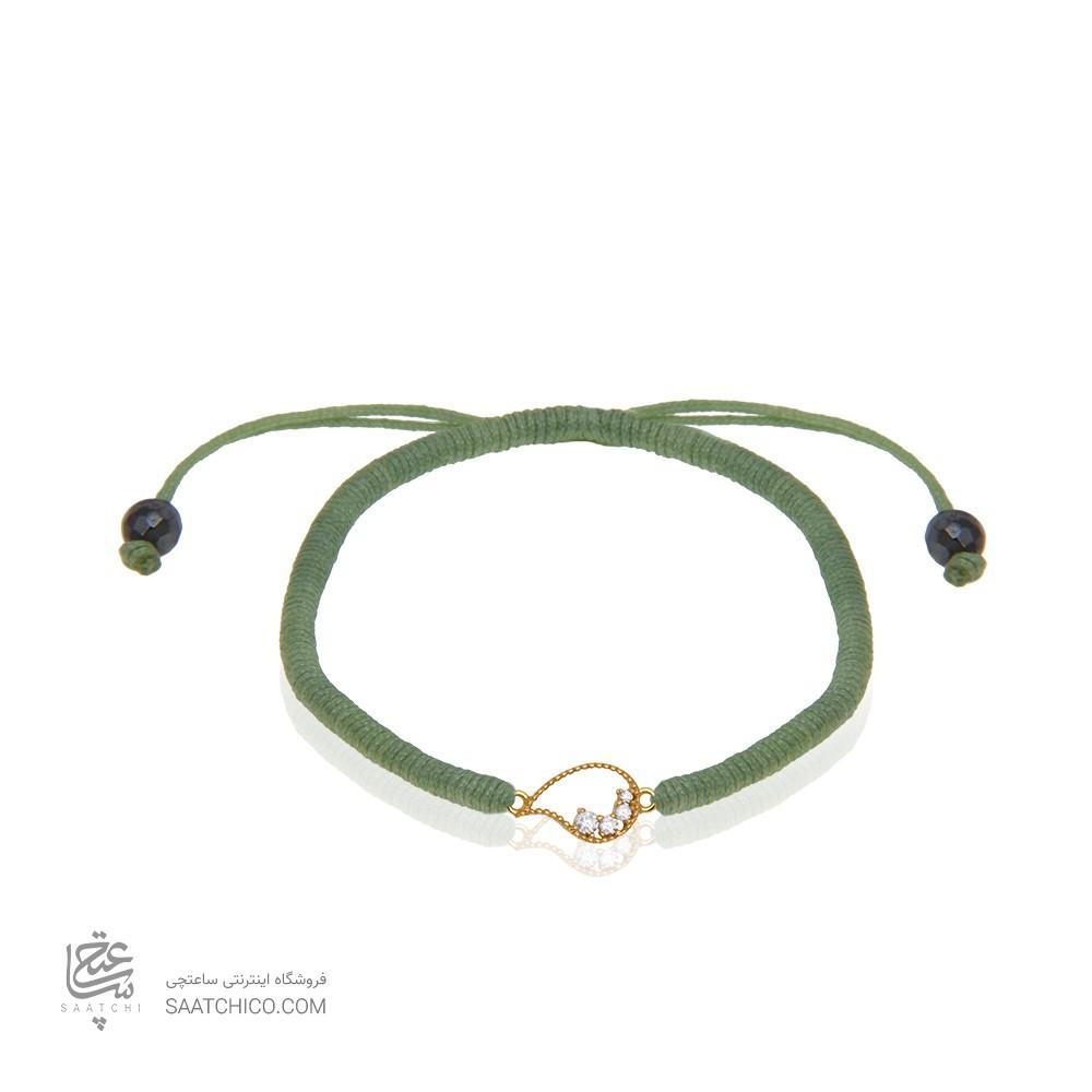 دستبند طلا زنانه طرح بته جقه با نگین کد xb990