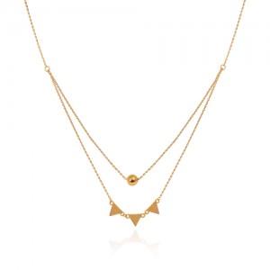 گردنبند طلا زنانه دولایه طرح هندسی کد ln837