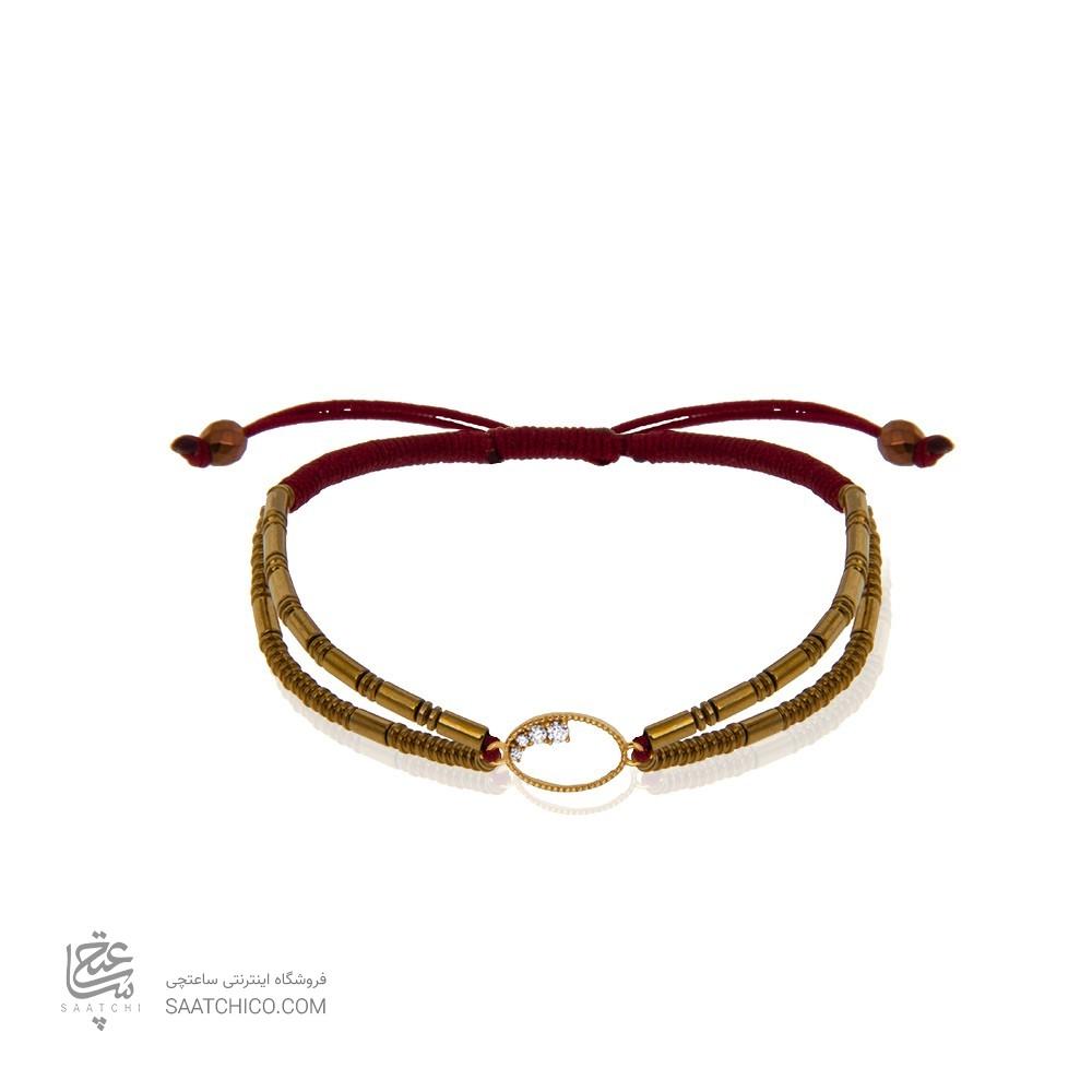 دستبند طلا زنانه طرح هندسی با نگین کد xb813