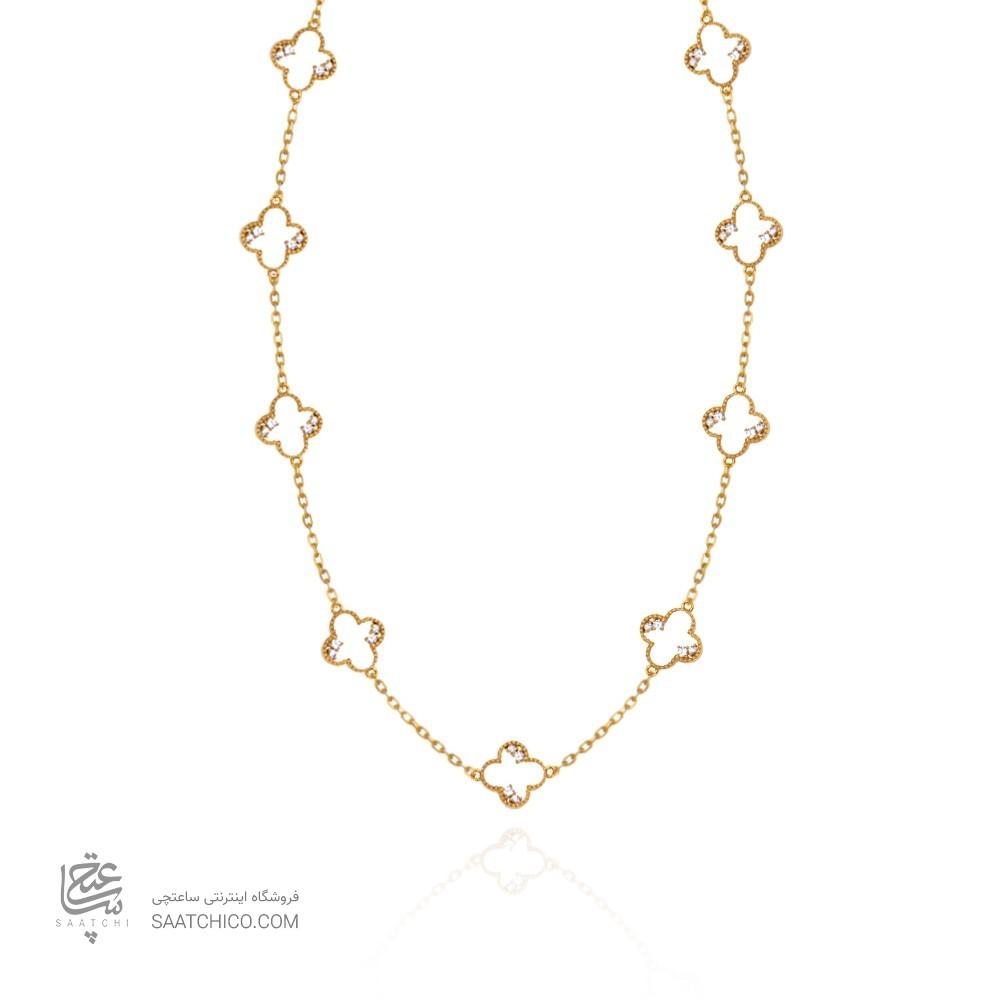 گردنبند رولباسی طلا طرح ونکلیف با نگین کد xn630