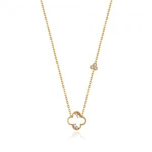 گردنبند طلا زنانه طرح ونکلیف با نگین کد cn354