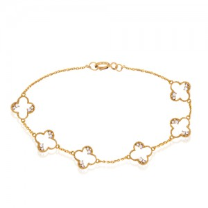 پابند طلا زنانه طرح ونکلیف با نگین کد ca407