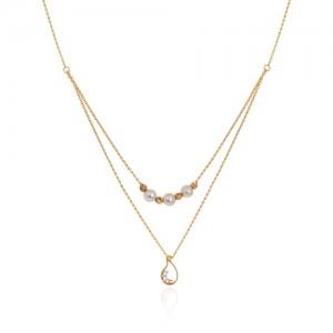 گردنبند طلا دولایه طرح بته جقه با مروارید کد xn147