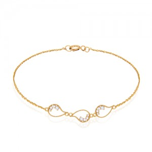 دستبند طلا زنانه طرح بته جقه با نگین کد cb302