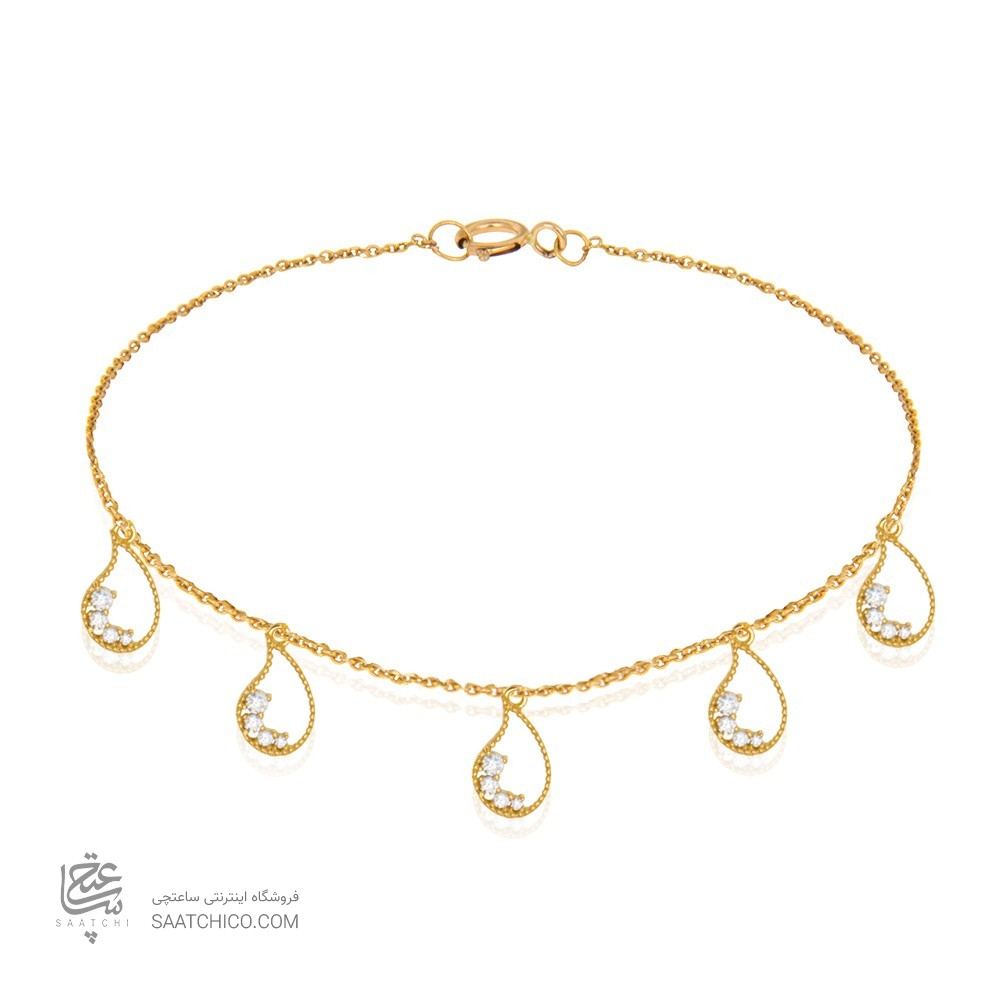 پابند طلا زنانه طرح بته جقه با نگین کد ca406