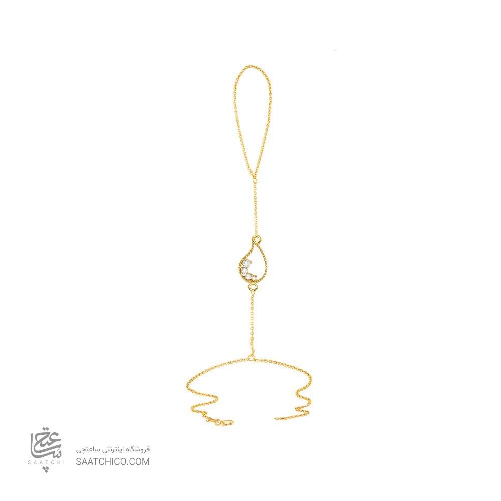 تمیمه طلا زنانه طرح بته جقه با نگین کد ct301