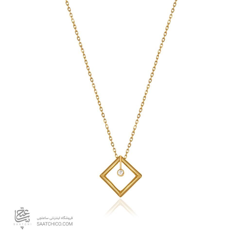 گردنبند طلا زنانه طرح هندسی با نگین کد cn326