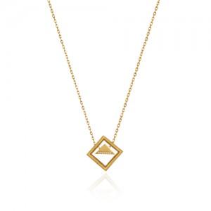 گردنبند طلا زنانه طرح هندسی کد cn323